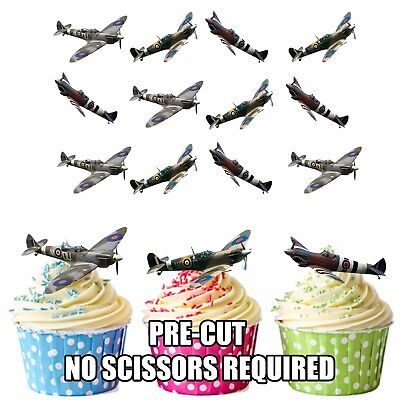 PRECUT Spitfires WW2 RAF Planes 12 Edible Cupcake Toppers Cake Decorations Mens