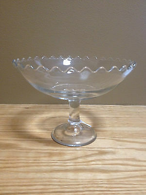"ANTIQUE Glass COMPOTE CLEAR CUT CANDY DISH Bowl on Stem  EAPG 6"" tall 8"" wide"