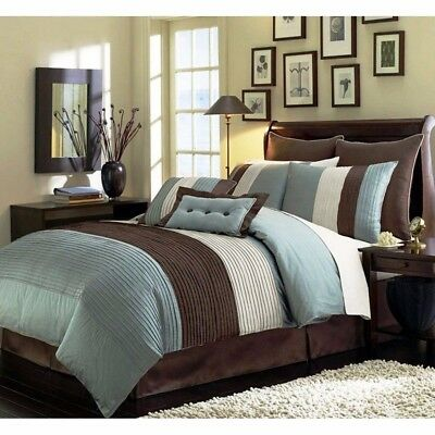 8-Piece  Pintuck Pleated Stripe Off-White, Blue, and Brown Comforter Set, Full