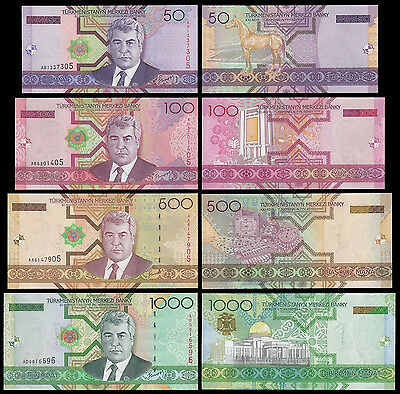 Turkmenistan 50 - 1000 Manat 4 Pieces (PCS) Full Set,2005,P-17,18,19,20,UNC