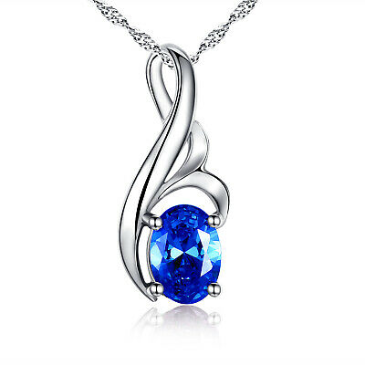 0.75Ct  Blue Sapphire Oval Cut Pendant Necklace Sterling Silver w/ Chain