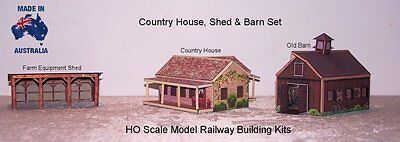 HO Scale House Barn Equipment Shed Set - Model Railway Building Kit - FS3