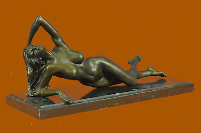 "Bronze nude Statue ""The Nymph Stripper"" Figurine Lost Wax Casting Marble Base"