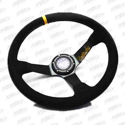 New 350mm /13.8inch Deep Dished Sport Racing Suede Alloy Steering Wheel