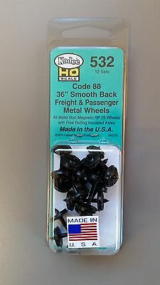 "Kadee #532 HO Scale Metal Wheels - 36"" Smooth Back Semi-Scale Code 88 (12 Pcs)"