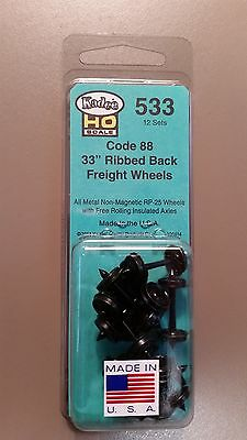 "Kadee #533 HO Scale Metal Wheels - 33"" Ribbed Back Semi-Scale Code 88 (12 Pcs)"