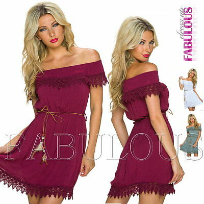 New European Off Bare Shoulder Dress Casual Summer Party Size 6 8 10 XS S M