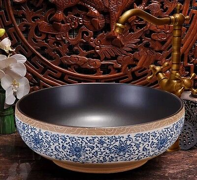 Ceramic Vintage Artistic European Bathroom Bowl Vessel Wash Basin DK-4601-2