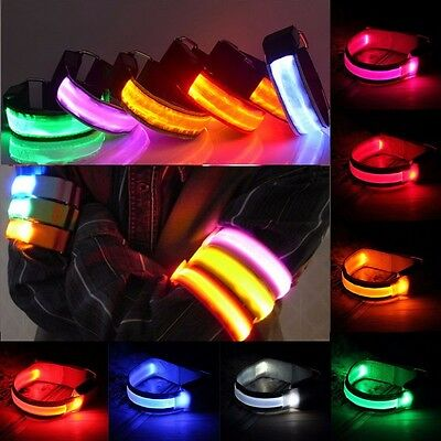 Running Cycling Flashing LED Safety Night Reflective Belt Strap Arm Band Armband