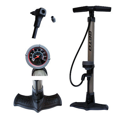 New BETO High Pressure 160PSI Steel Body Presta & Schrader Bicycle Floor Pump
