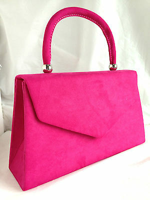 New Fuschia Pink Faux Suede Evening Day Clutch Bag Top Handle Club Xmas Party