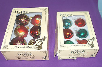 Vintage Retro Glass Christmas Tree Baubles 2 Two Boxes Of Six