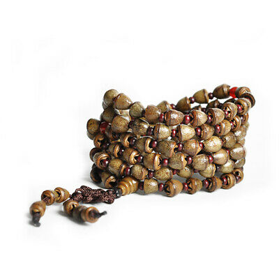 Tibet Buddhism 108 Gold-bell Bodhi seed Prayer Bead Mala Necklace