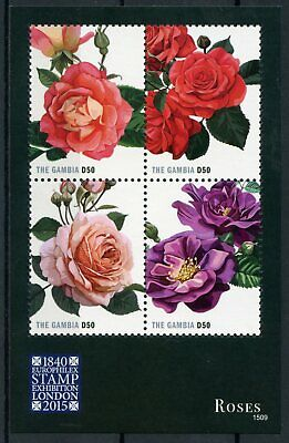 The Gambia 2015 MNH Roses Europhilex Stamp Exhibition London 4v M/S Flora