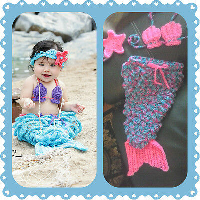 Baby Mermaid Outfit Crochet Halloween Costume Photo Prop Set