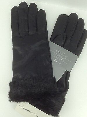 Women's CHARTER CLUB by MACYS Black LEATHER Gloves - M - $75 MSRP