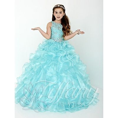 Blue Flower Girl Dress Princess Kids Pageant Party Dance Wedding Birthday Gown