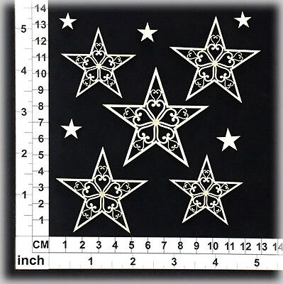Chipboard Embellishments for Scrapbooking, Cardmaking - Christmas Stars 26081w
