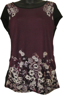Maternity Wear Top Purple Short Sleeve T Shirt Floral Size 10 12 14 16 18 20 NEW
