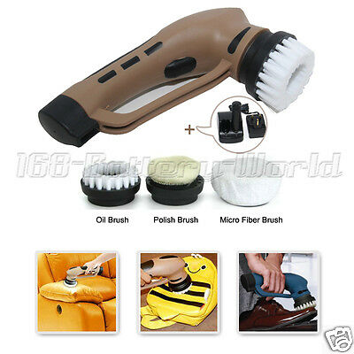 Rechargeable Electric Automatic Shoe Brush Kit for Leather Care Sofa Bag Car Mat