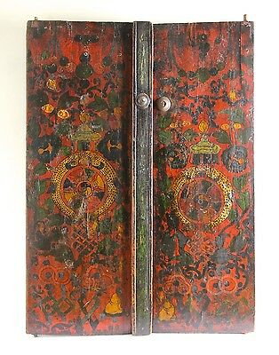 Antique Chinese Tibetan Wooden Cabinet Auspicious Figures - Qing Dynasty 19th C