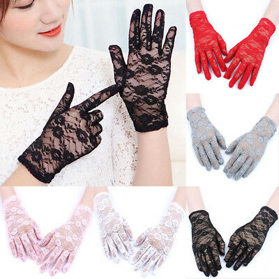 Fashion Women Lace Flower Short Wrist Gloves Bridal Wedding Party Evening