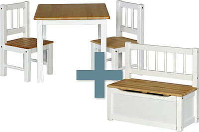 Table and chairs with chestbench - NOA - Wooden Set Kids Children Play Toybox