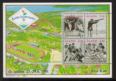 Aland Mnh 1991 Ms49 Small Island Games Minisheet