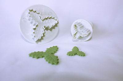 Veined 3 Leaf Holly Plunger Cutter Set of 2, Sugarcraft, Baking
