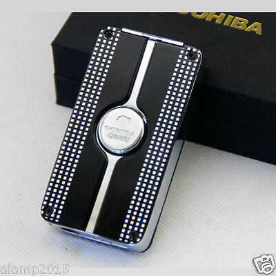 Cohiba Black Metal Wind-Proof 3 Torch Jet Flame Cigar Cigarette Lighter W/punch