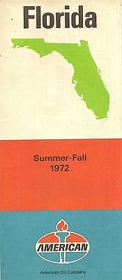 1972 AMERICAN OIL Road Map FLORIDA Miami Jacksonville Tallahassee Tampa Sambo's