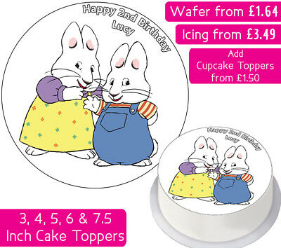 Max And Ruby Edible Wafer & Icing Personalised Cake Toppers Birthday Party Child