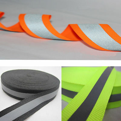 50m Reflective Tape Strip Sew-On Silver Black Fabric Trim Safty Vest, Width 1""