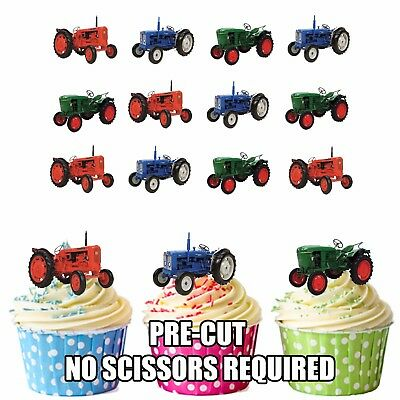 Vintage Tractors Mens Boys Birthday Party 12 CupCake Toppers Edible Decorations