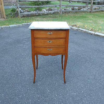 A French Provincial Three Drawer Night Stand, Marble Top 19th Century Wash Table