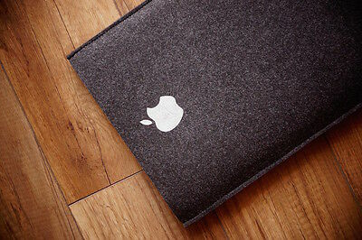 """New MacBook 12"""" Retina Sleeve Case - SIMPLE BLACK UP WITH SILVER APPLE"""
