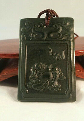 Vintage Chinese Genuine Dark Green Jade Happy Big Belly Buddha Pendant 47.2g