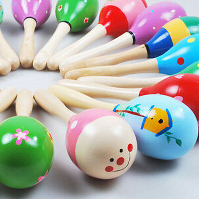 New Baby Wooden Sand Hammer Ball Kid Toy Rattle Musical Instrument Percussion