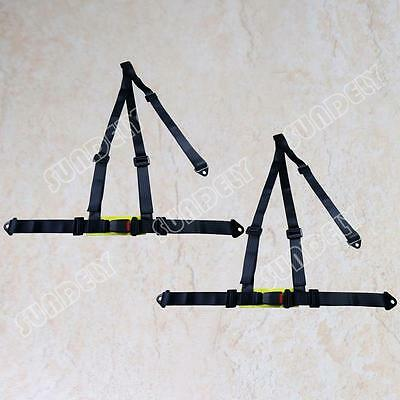 Pair Black Racing Seat Belt 3 Point Safety Harness