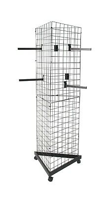 3-Sided Gridwall Fixtures Wheeled Bases,(12) Faceout Hooks-Black 19370