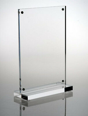 FixtureDisplays 4 x 6 Acrylic Sign Holder with Magnets, T-style - Clear 19034