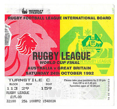 1992 - Australia v Great Britain, World Cup Final Match Ticket.