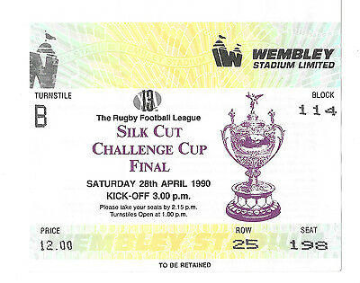1990  - Warrington v Wigan, Challenge Cup Final Match Ticket.