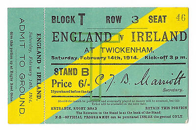1914 - England v Ireland, Match Ticket / Stub.