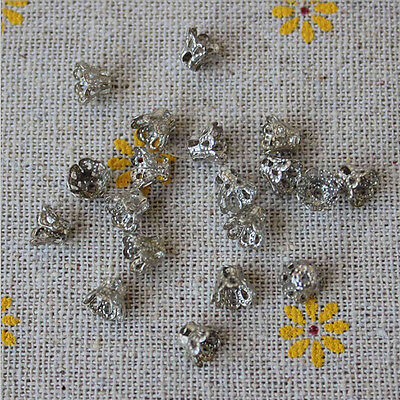 100 Pcs Filigree Flower Cup Shape 7mm Silver Bead Caps for Jewelry Making