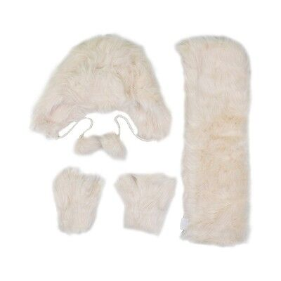 Girls Kids Minx White Fur Winter Hat Mitten Gloves & Scarf 3 Piece Set Age 3-13