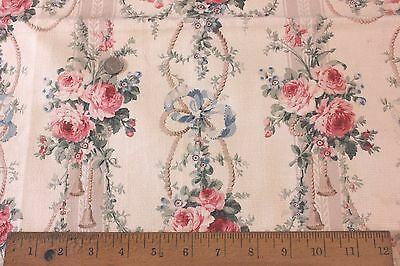 Antique French Victorian Pink Roses & Ribbons Home Dec Cotton Fabric c1890