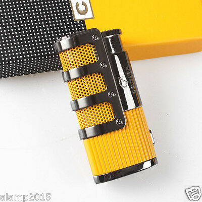 Cohiba Yellow Metal Wind-Proof 3 Torch Jet Flame Cigar Cigarette Lighter W/punch