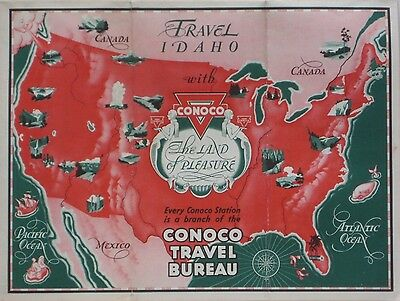 1933 CONOCO OIL Mermaids Gas Station Road Map IDAHO Boise Pocatello Yellowstone