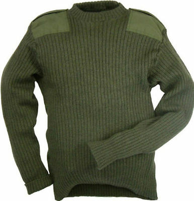 Genuine British Army Surplus Pullover Olive Green Wool Jumper Commando